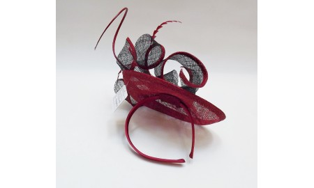 Jane Anne Designs Red & Black Fascinator