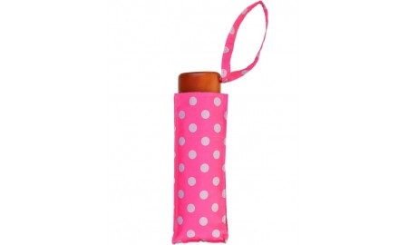 Susino Bright Polka Dots Ladies Mini Compact Umbrella - Pink & Grey