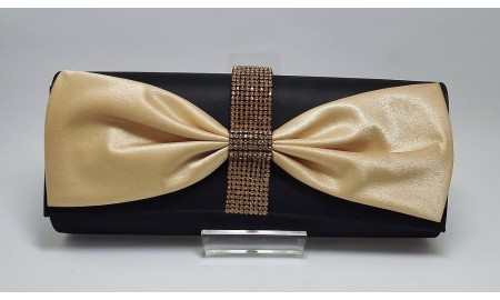Black & Gold Satin Diamante Bow Clutch Bag