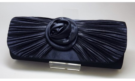 Envy Navy Satin Clutch Bag