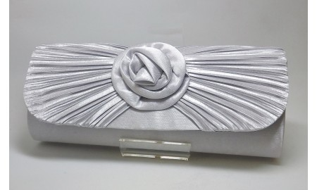 Envy Silver Satin Clutch Bag