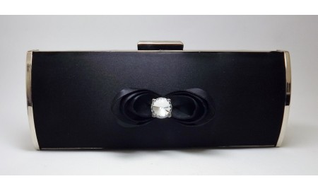 Farfalla Black Satin Clutch Case Bag