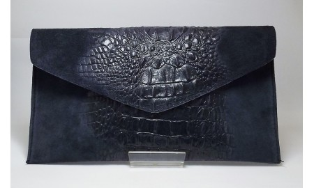 Kalivalson Navy Suede Clutch Bag