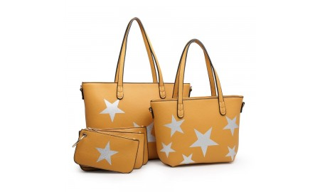 House of Milano Large Star Tote Bag - Mustard