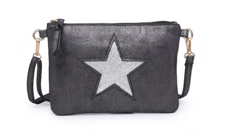 Navy Inc Across Body Star Bag - Dark Grey