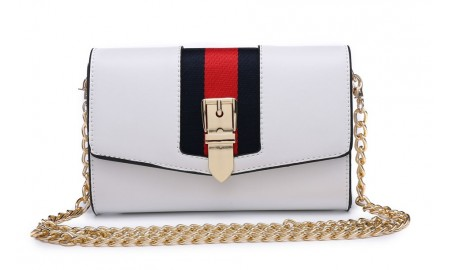 House of Milano Gold Buckle Handbag - White