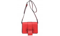 House of Milano Buckle Front Handbag - Red