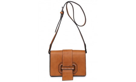 House of Milano Buckle Front Handbag - Brown