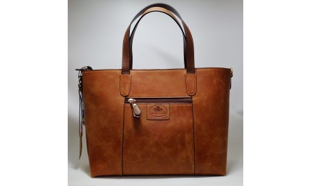 Rowallan Askana Deep Gusseted Zip Top Shopper Bag - Cognac & Brown