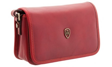 Tumble & Hide Casoni Italian Leather Flap Over Bag - Red