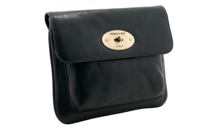 Tumble & Hide Italian Leather Flap Over iPad Sleeve - Black