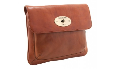 Tumble & Hide Italian Leather Flap Over iPad Sleeve - Cognac
