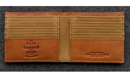 Tumble & Hide Chukka Leather & Waxed Canvas East West Wallet - Tan