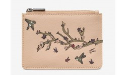Yoshi Sakura Cherry Blossom Zip Top Leather Purse