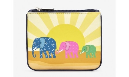 Y by Yoshi Elephant Family Leather Zip Top Purse