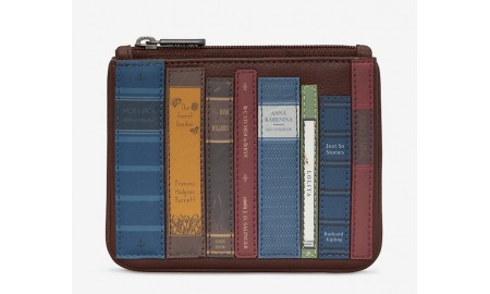 Yoshi Bookworm Library Zip Top Leather Purse - Brown