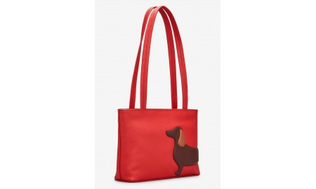 Yoshi Dottie The Dachshund Red Leather Shoulder Bag