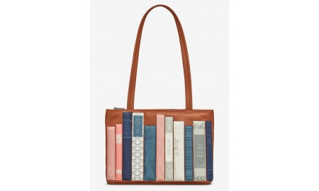 Yoshi Bookworm Library Leather Shoulder Bag - Tan