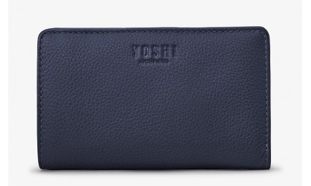 Yoshi Leather Flap Over Oxford Purse - Navy