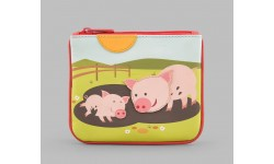 Y by Yoshi Leather Zip Top Pigs In Mud Applique Purse