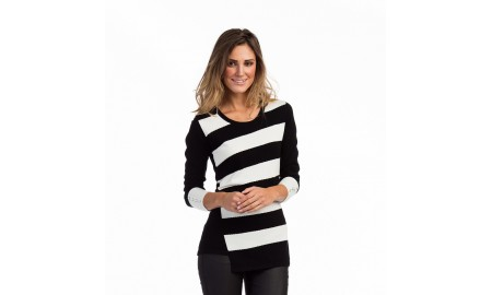 Marble Black & White Stripe Jumper