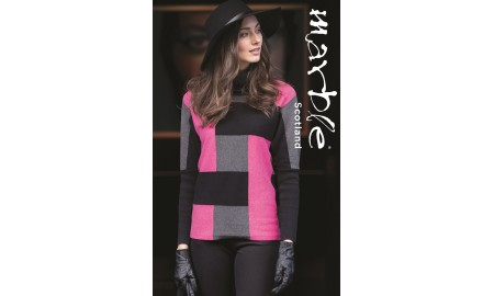Marble Grey, Black & Magenta Pink Cowl Neck Jumper