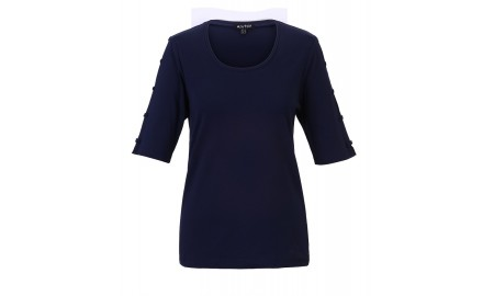 Marble Bow Sleeve Top - Navy