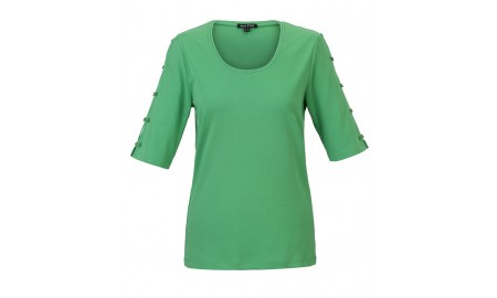 Marble Bow Sleeve Top - Green