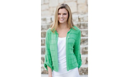 Marble Tie Front Jacket - Green