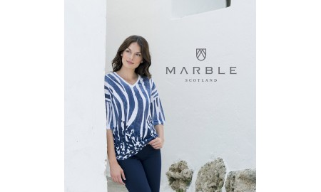 Marble 3/4 Sleeve Top - Blue & White