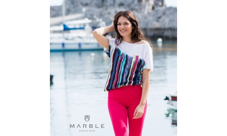 Marble T-Shirt - White, Blue & Pink
