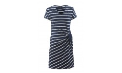 Marble Tie Front Dress - Navy Blue & White