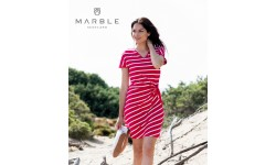 Marble Tie Front Dress - Red & White