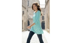 Marble Star Tunic Top - Turquoise