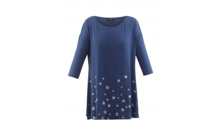 Marble Star Tunic Top - Blue