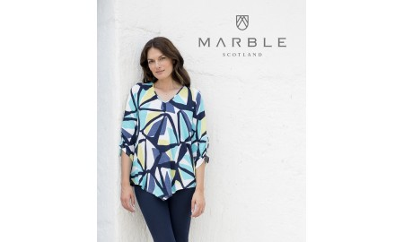 Marble 3/4 Sleeve Top - Navy, Turquoise & Lime Green