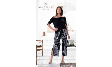 Marble Cropped Trousers - Black & White