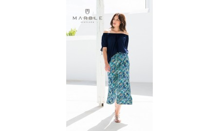 Marble Cropped Trousers - Turquoise, Navy, White & Lime Green
