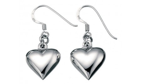 Beginnings Silver Puffed Heart Drop Earrings