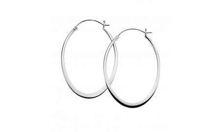 Beginnings Silver Oval Flat Edge Hoop Earring