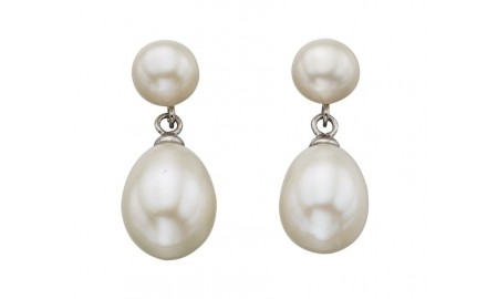 Beginnings Silver Double Freshwater Pearl Drop Earrings