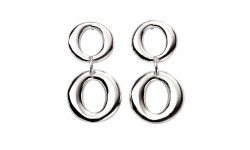Beginnings Silver Double Open Circle Drop Earrings