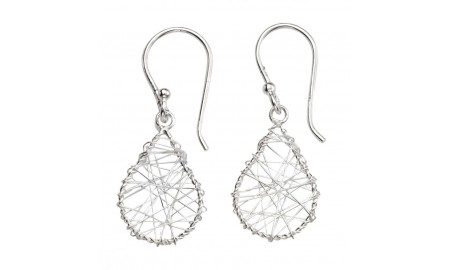 Beginnings Silver Wire Wrap Teardrop Earrings