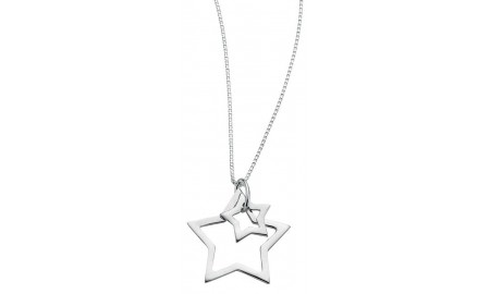 Beginnings Silver Double Star Necklace
