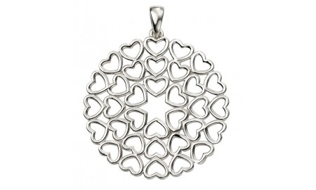 Beginnings Silver Large Multi Heart Disc Pendant