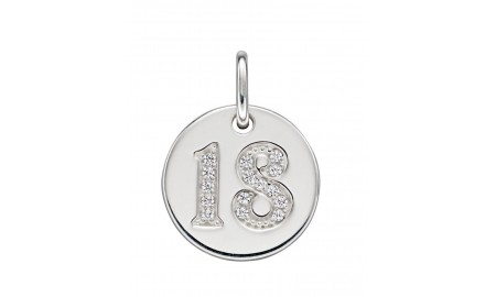 Beginnings Silver 18 CZ Disc Pendant