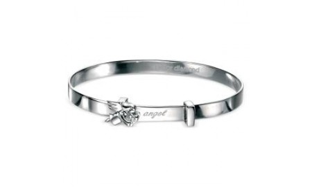 D for Diamond Angel Baby Bangle