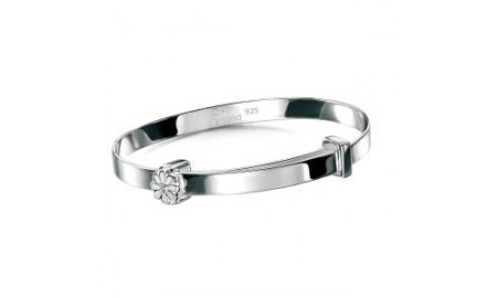D for Diamond White Daisy Christening Bangle
