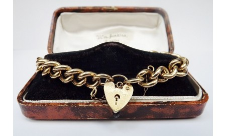 Vintage 9ct Gold Solid Curb Bracelet