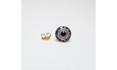 Pre-owned 9ct Gold Sapphire & Diamond Stud Earrings